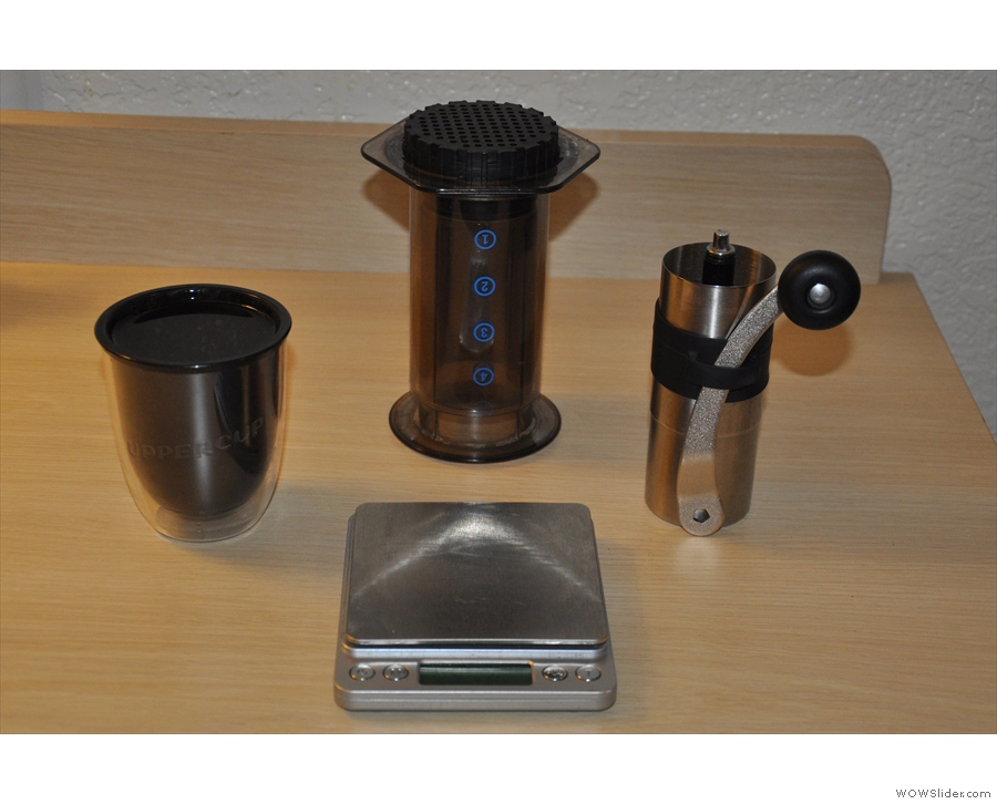 Once again, my trusty Aeropress, Mini-Porlex and UpperCup were pressed into action.