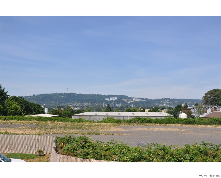 The view from the walkway outside my first floor room, across to the hills west of Portland.