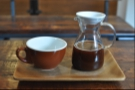 So, down to business: my coffee (from the BrewT system) came in a nice caraffe and cup, tastefully presented on a little tray...