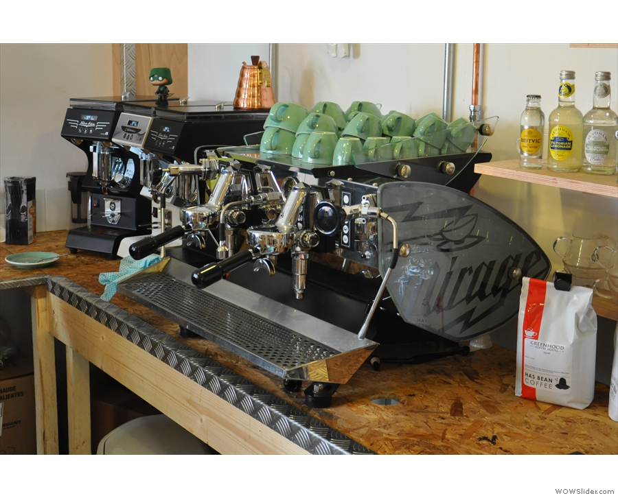 The espresso machine is this lovely-looking Kees van der Westen Mirage. So shiny...