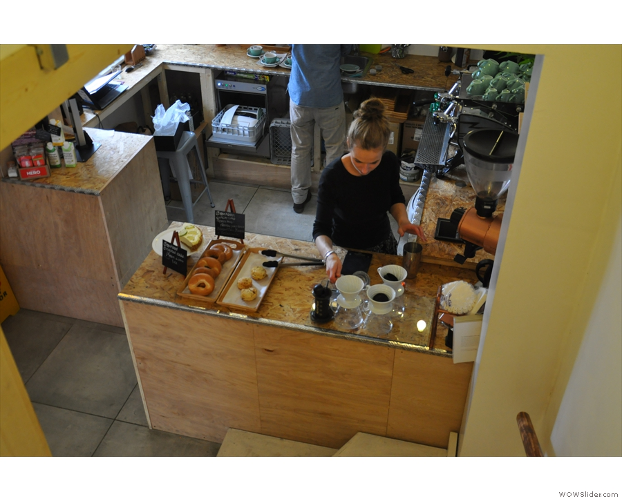 Anyway, to business: the counter, seen from halfway down the stairs.