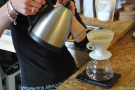 For V60, Greenhood employs a continuous pour method...