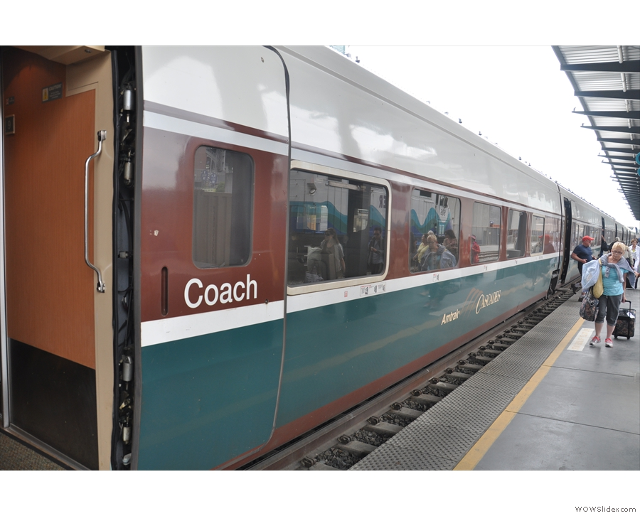 My train, The Cascades, and coach class, where I had been assigned my seat.