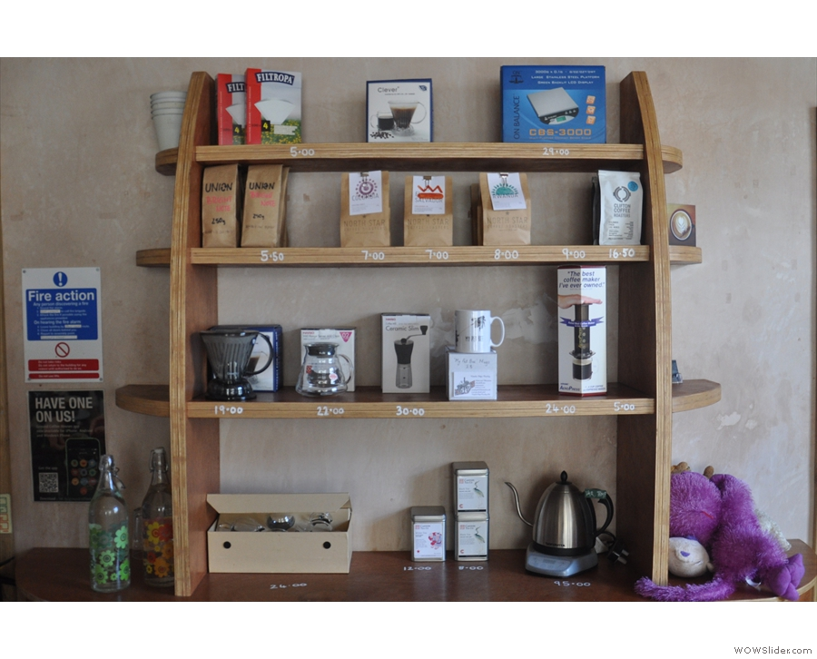 There's plenty of coffee, and coffee-making kit, for sale.
