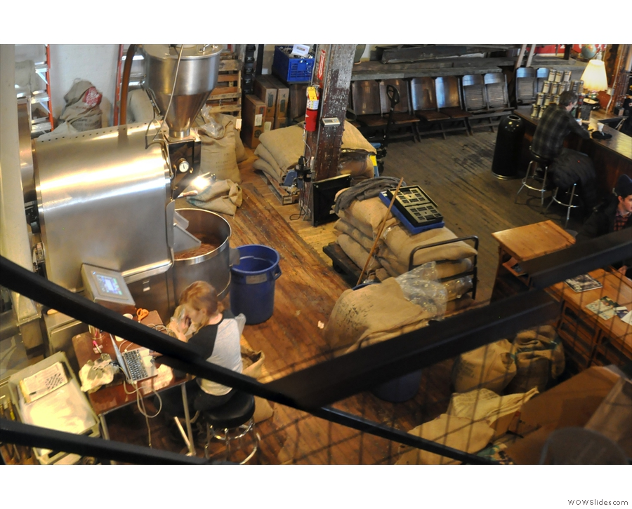 The roastery, seen here from above, occupies the back of the building's right-hand side.