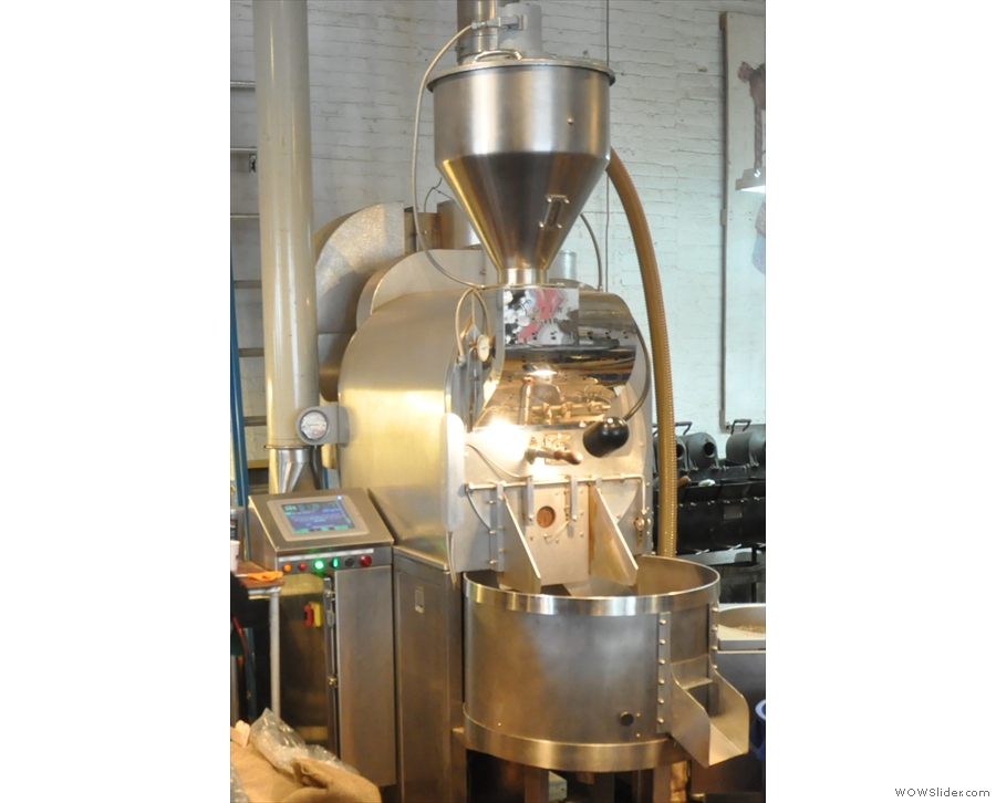 The roaster, a shiny 35kg Loring.