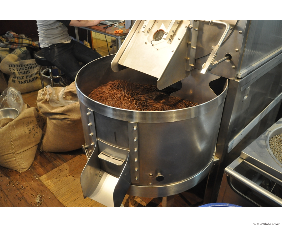That magical moment when the beans come pouring out of the roaster into the cooling pan.