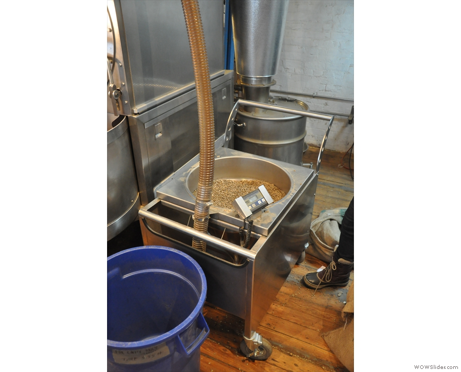 The roaster's now ready for the next load. I was wondering how they got the beans up there.