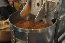 The blades start up and the important job of cooling the beans down begins.