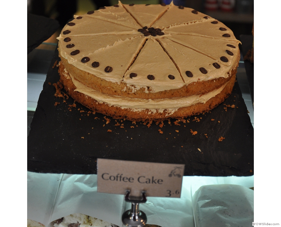 The coffee cake is made using two types of espresso bean :-)