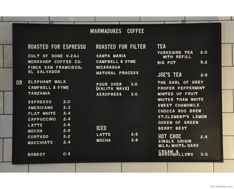 ... while the main menu is on the left above the espresso machine.