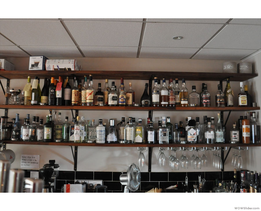 ... and a range of 50+ gins on a couple of shelves on the back wall.