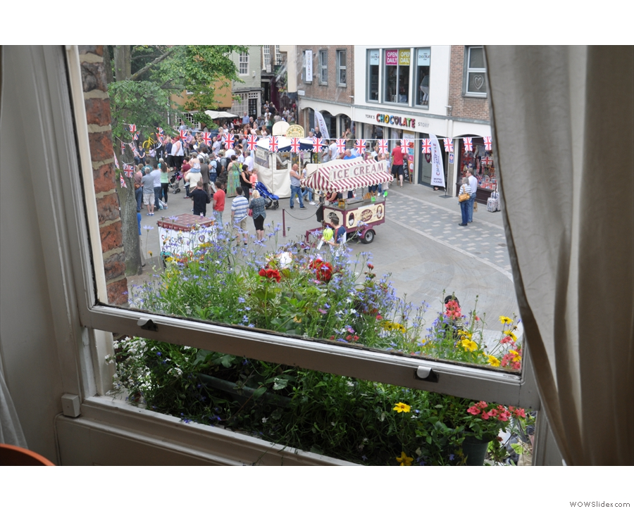 The view from the window. Lovely window boxes by the way!