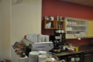 Meanwhile, behind the espresso machine, you'll find the cafetieres and teapots...