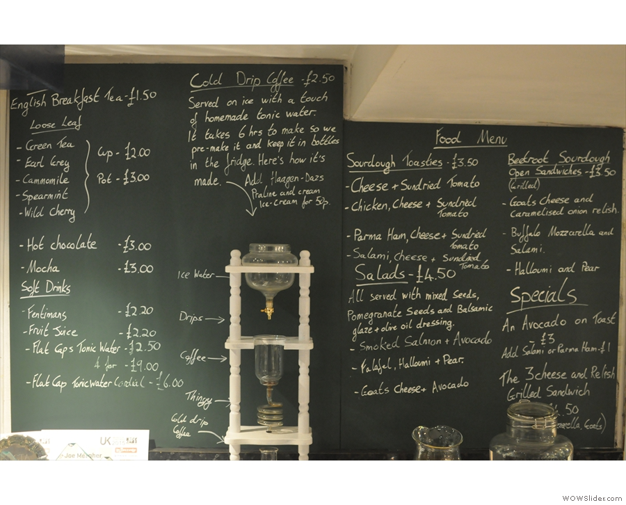 The revamped food menu is arranged around the cold-brewer (complete with notes).