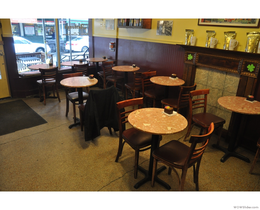 The seating is all on the left-hand side: eight, round, two-person tables.