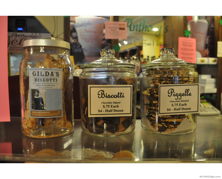 ... with glass jars full of biscotti and pizzelle on top.
