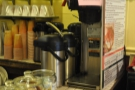 The obligatory bluk-brewer hides behind the menu on the right-hand end of the counter.