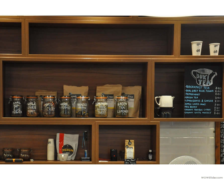 There's more interesting things behind the counter, including the tea and tea menu.