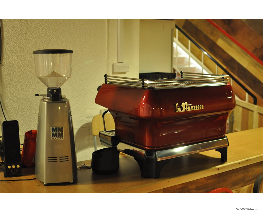 However, the plan is to bring it into regular use: here's the La Marzocco ready for action.