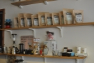 On the shelves behind the counter there's a kettle, Syphon, Chemex, Aeropress & ... tea?