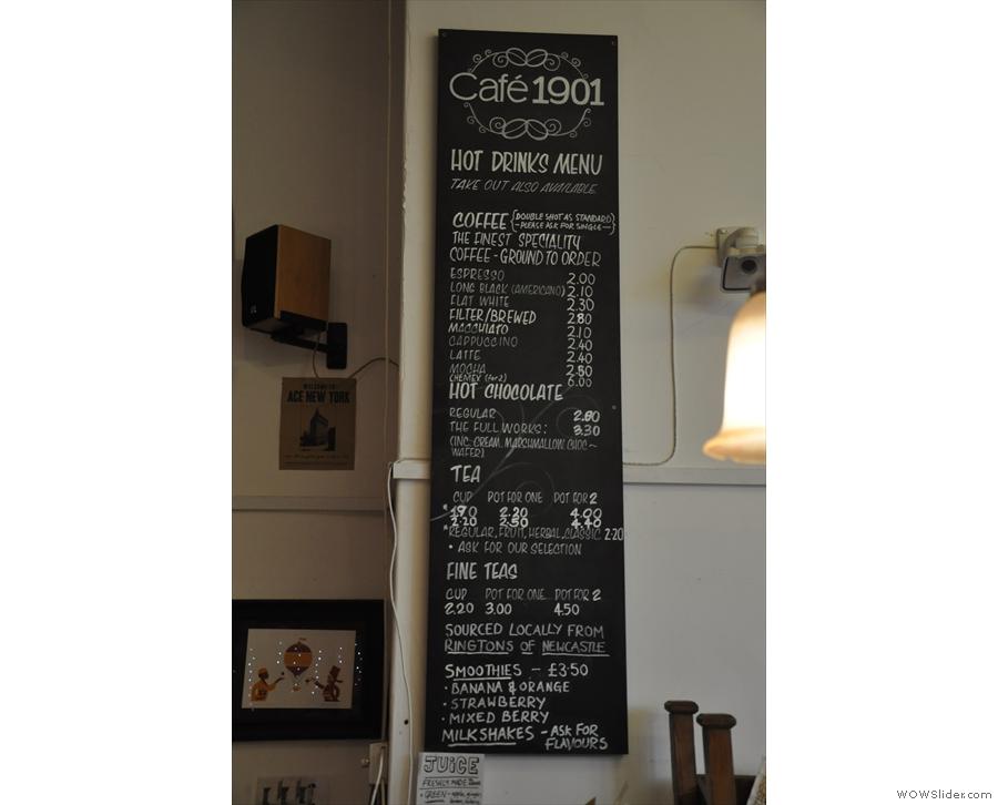 A concise, but impressive menu. Coffee, loose-leaf tea and...