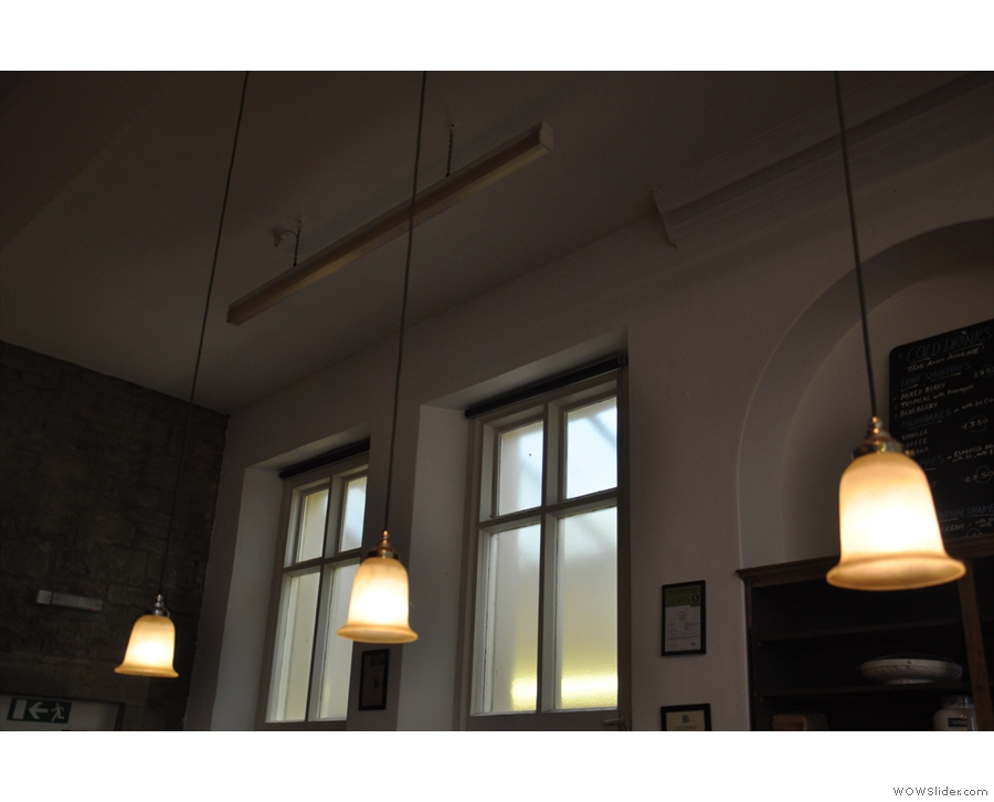 These hang above the counter, although there are also some small windows at the back.