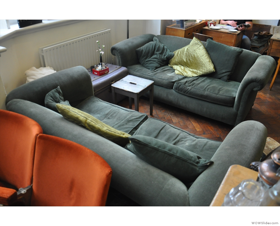 If it's comfort you're looking for, this pair of sofas in the window look ideal.