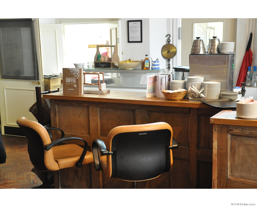 Want to get up close & personal? Try one of these barber's chairs at the end of the counter.