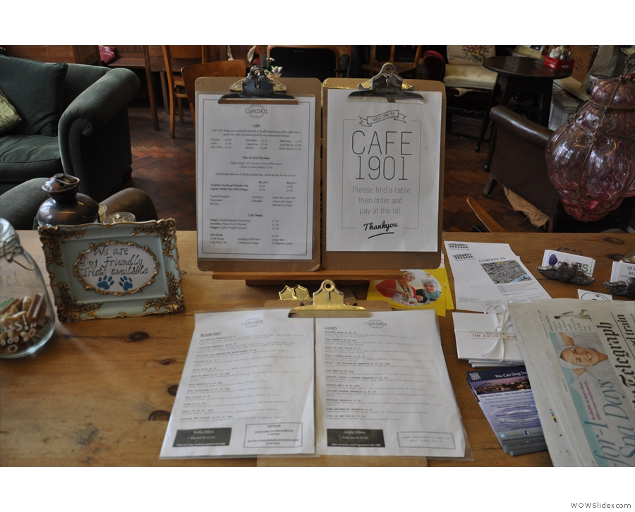 Cafe 1901 has a wide and varied food menu, copies of which await you as you enter...