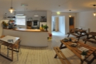 A panoramic view of the back room at Harvest Canteen.