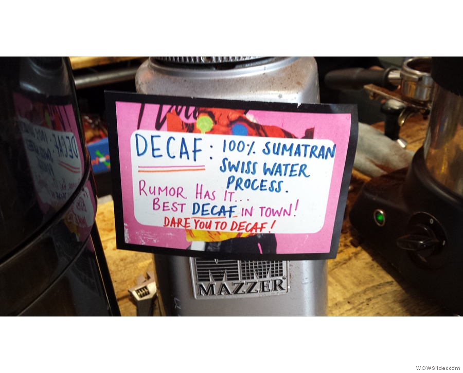 One of my regular sources of decaf: the Roasting Party, at Beany Green, and it's Sumatran.