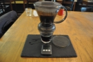 When the timer goes off, just place the dripper on the glass and, voila! The coffee is served.