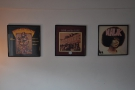 The other wall is decorated with old LP covers.