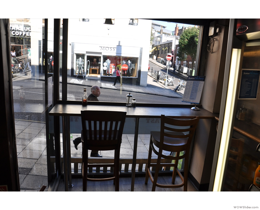If you want, you can perch on a high chair in the window and watch the world go by.