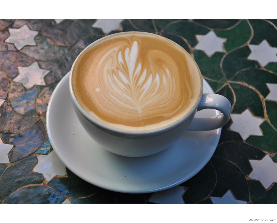 Pretty patterns in my latte; the young lady serving me thought she didn't do a great job!