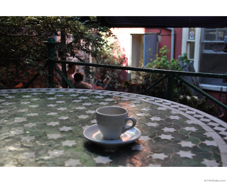 An espresso's eye-view of the terrace at the back of the Boston Tea Party.