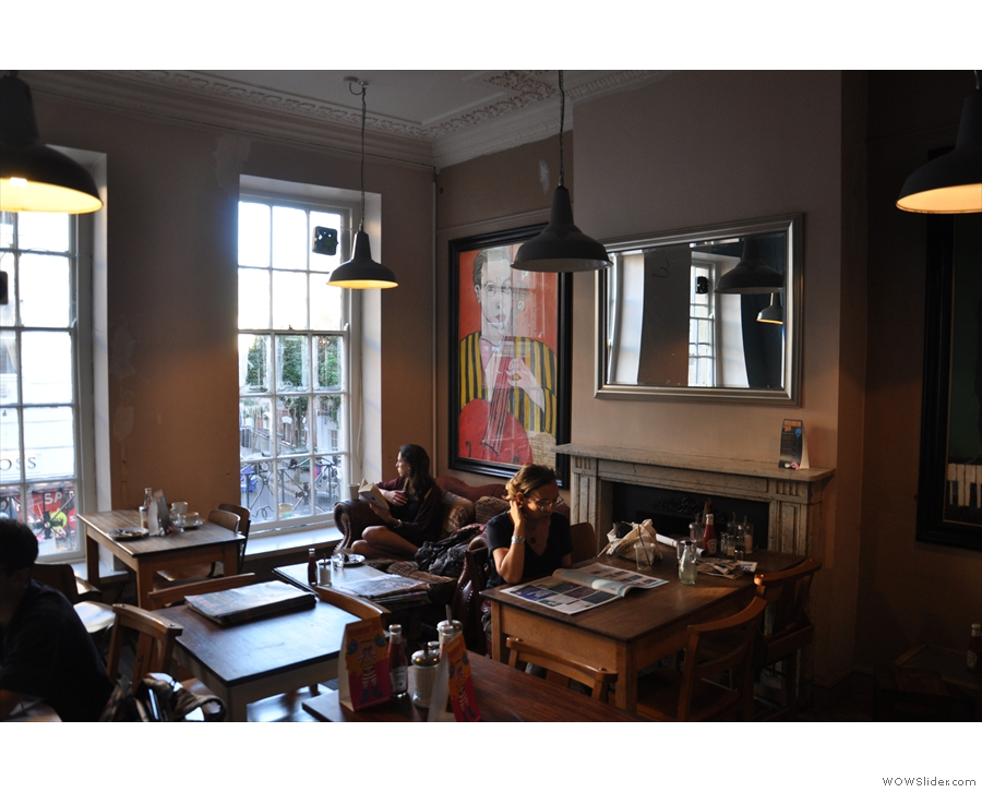 The upstairs lounge, complete with tables and comfortable chairs, as seen in 2012...