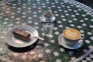 Full House! Espresso, latte and caramel shortbread (& glass of water, of course).