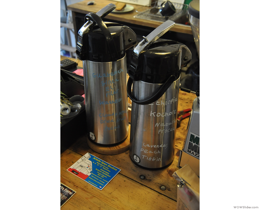 The filter coffee is bulk-brewed and stored in these handily-annotated flasks.