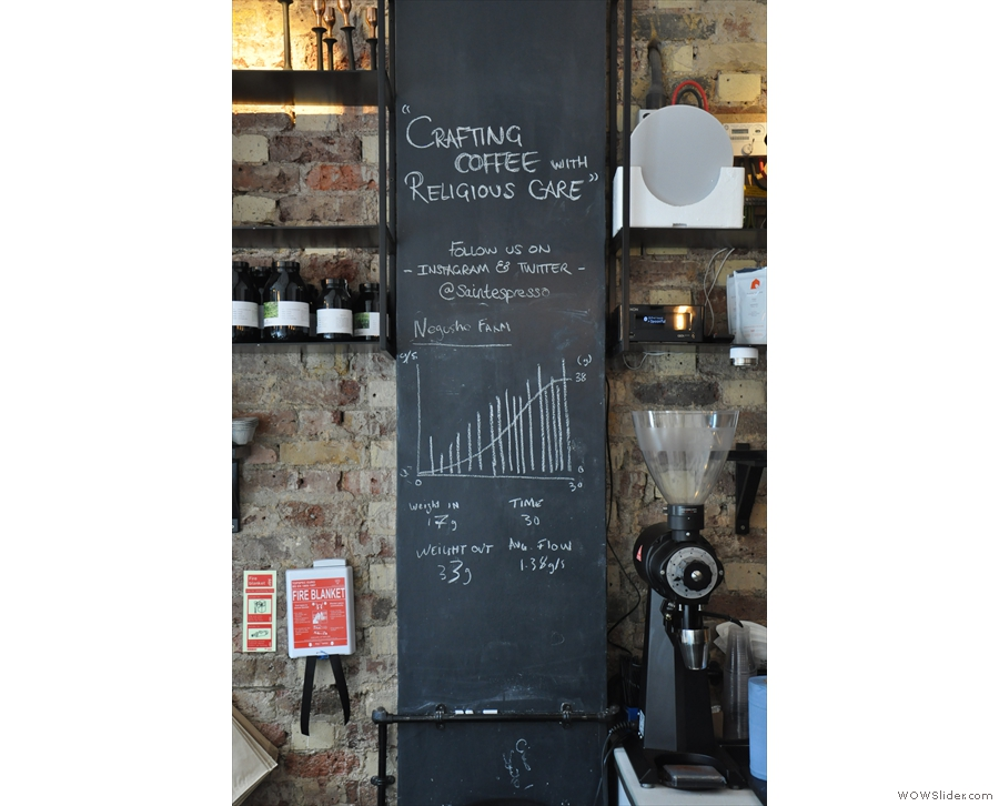 Saint Espresso is not afraid to display its coffee geekery in the wall behind the counter.
