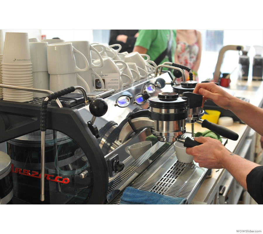 Next the portafiller is fitted to the La Marzocco and we're ready to go.