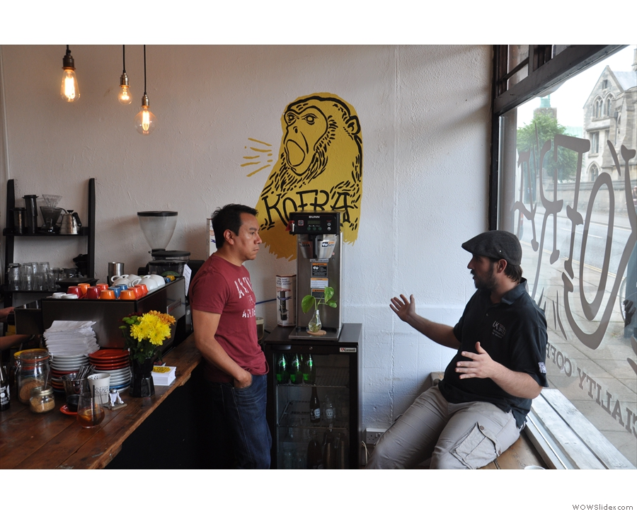 Never leave two baristas alone. Alex (from Strangers) tells Kofra's owner, José, how it is.