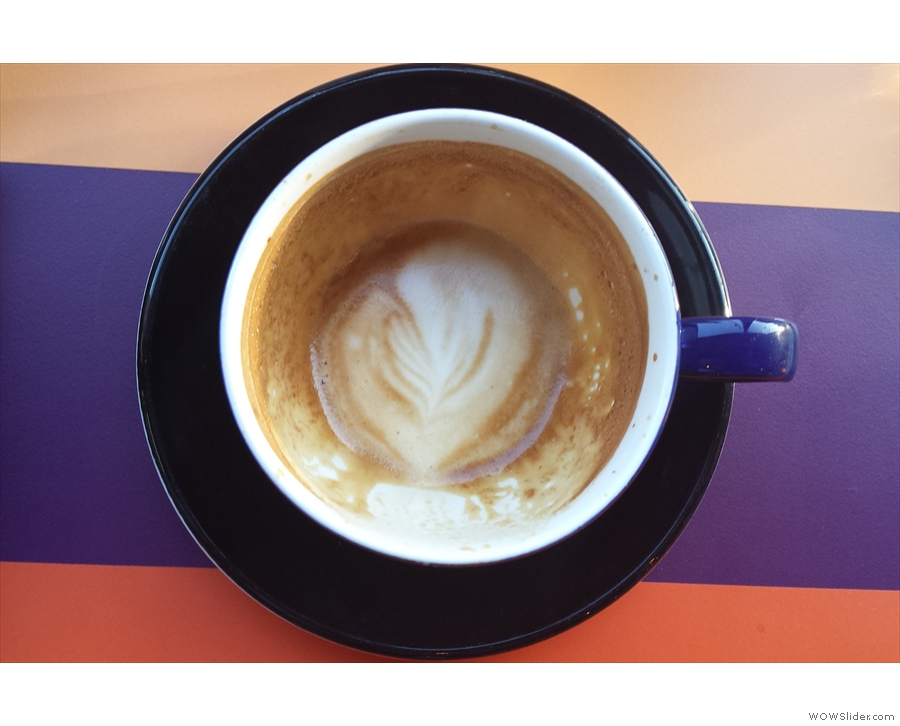 ... which was very well done by my barista, Matt, the milk holding its pattern to the end.