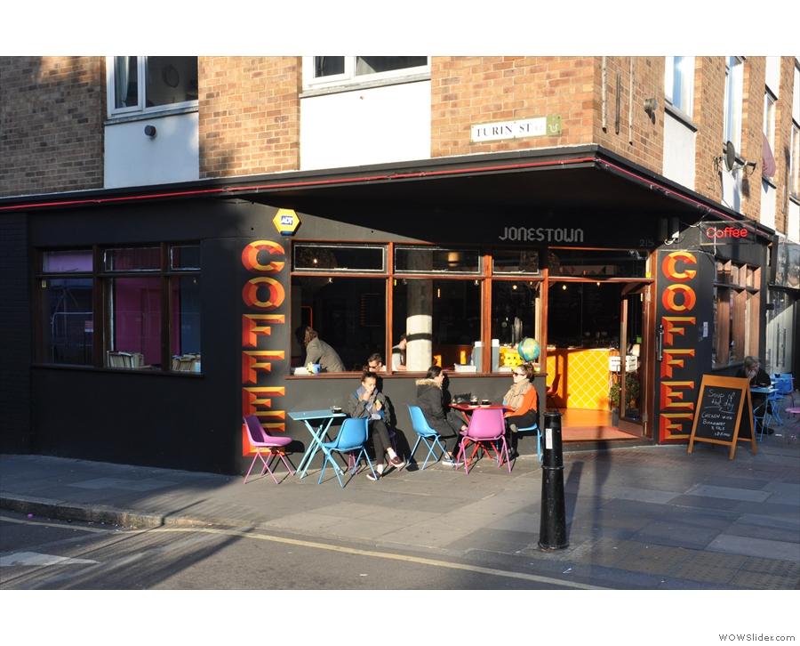 Jonestown Coffee, on the sunny corner of Bethnal Green Road and Turin Street.