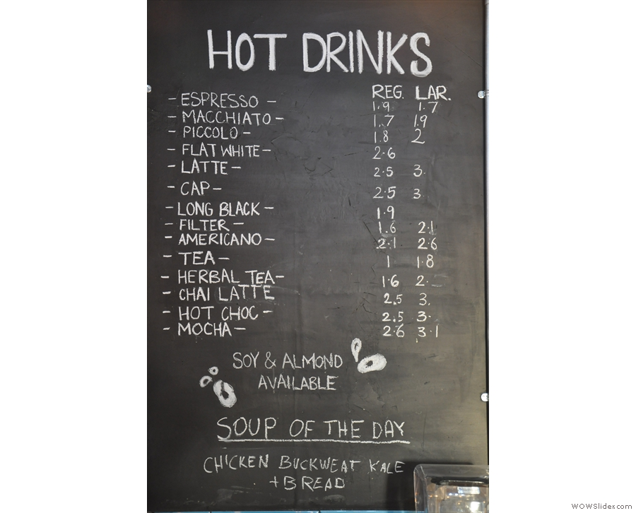 ... while the hot drinks are to the right.