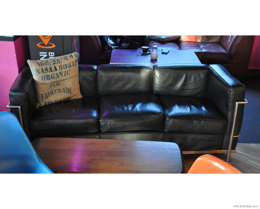 This sofa and coffee table effectively screen it off from the rest of the space...