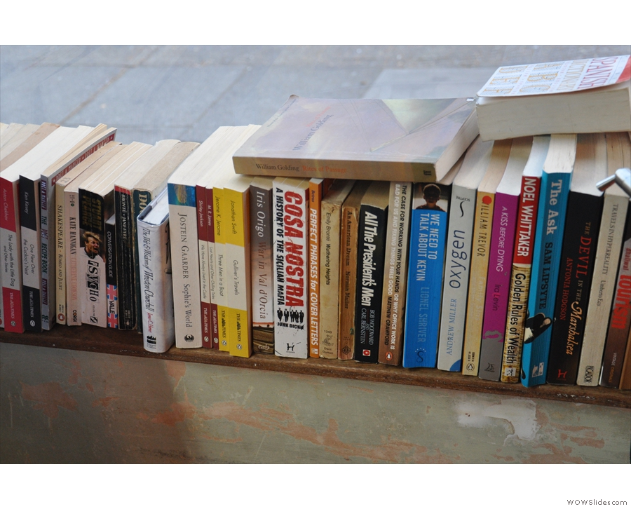 Both wiindow-bars give way to windowsills and stacks of books at their far ends.