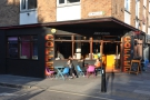 Jonestown Coffee, on the sunny corner of Bethnal Green Road and Turin Street.