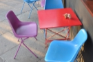 A taste of what's to come: multi-coloured furniture. Let's call the colour-scheme 'cheerful' :-)